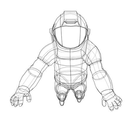 Astronaut concept. Vector rendering of 3d. Wire-frame style. The layers of visible and invisible lines are separated Vector Illustratie