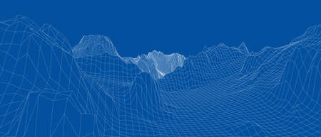 Abstract 3d wire-frame landscape. Blueprint style  イラスト・ベクター素材