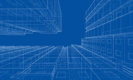 Modelo de estructura de alambre de vector de un edificio de varios pisos