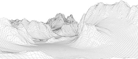 Abstract 3d wire-frame landscape. Blueprint style. Vector rendering from 3D model. Geology Terrain Ilustracje wektorowe