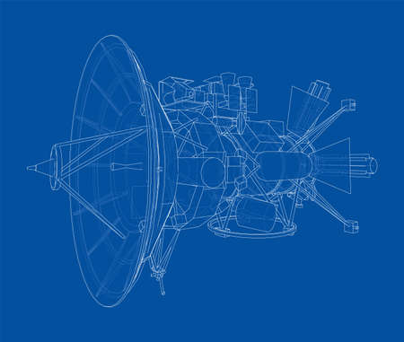Communication satellite concept outline. Vector rendering of 3d. Wire-frame style. The layers of visible and invisible lines are separated