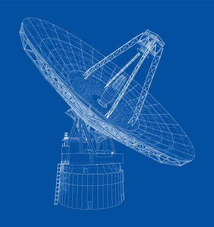 Radio Telescope concept outline. Vector Vecteurs