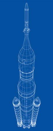Space rocket concept outline. Vector rendering of 3d. Wire-frame style. The layers of visible and invisible lines are separated