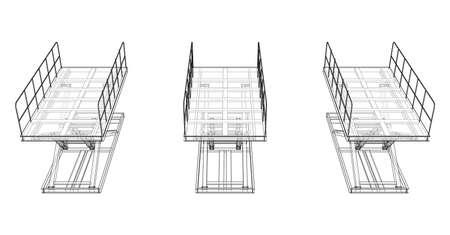 Scissors lift concept outline. Vector