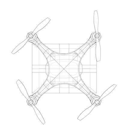 Delivery drone concept outline. Vector