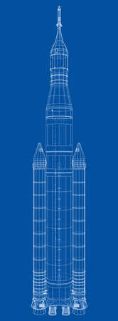 Space rocket concept outline. Vector