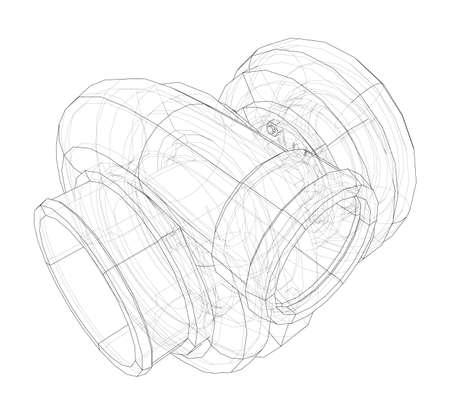 Automobile turbocharger concept outline. Vector Vektorové ilustrace