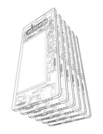 Smartphones concept outline. Vector rendering of 3d. Wire-frame style. The layers of visible and invisible lines are separated