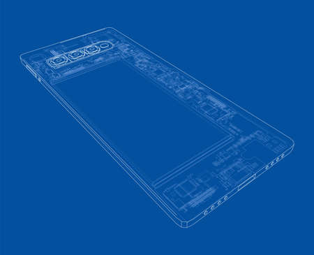 Smartphone concept outline. Vector Vektoros illusztráció