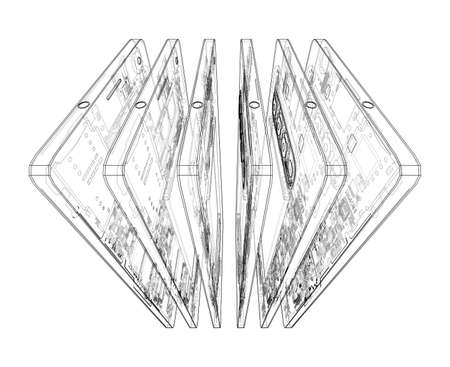 Smartphones concept outline. Vector rendering of 3d. Wire-frame style. The layers of visible and invisible lines are separated Vektoros illusztráció