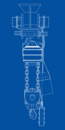 Winch or lifting machine concept outline. Vector 向量圖像