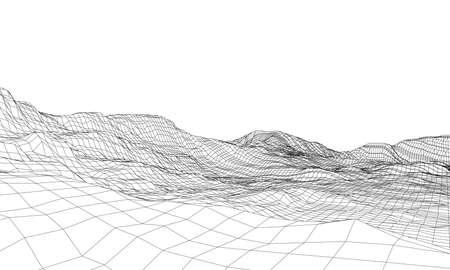 Abstract 3d wire-frame landscape. Blueprint style Vettoriali