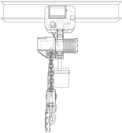 Winch or lifting machine concept outline. Vector Ilustração