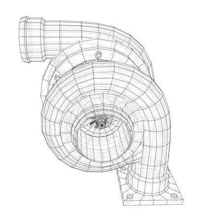 Automobile turbocharger concept outline. Vector