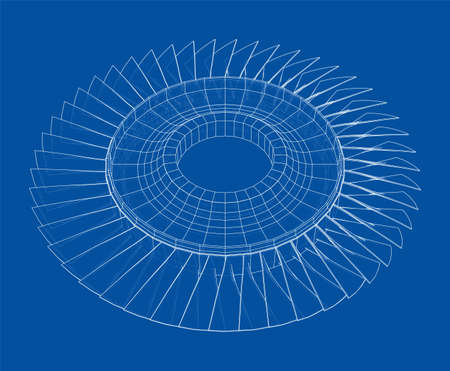 Turbine wheel concept outline. Vector