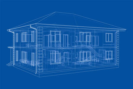 Abstract vector sketch of a house Vettoriali
