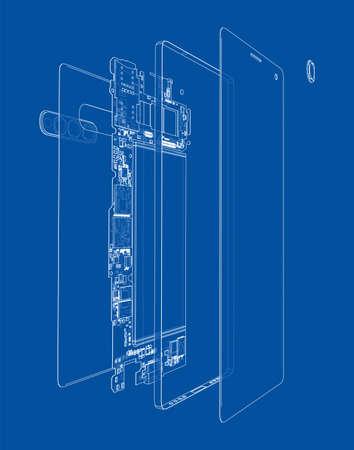 Disassembled smartphone concept outline. Vector Vektoros illusztráció