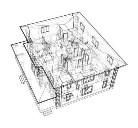 Abstract vector sketch of a house