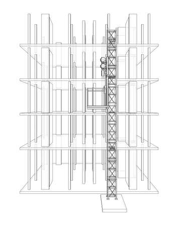 Building under construction with mast lifts