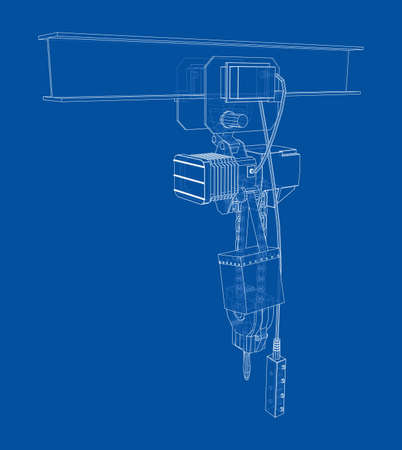 Winch or lifting machine concept outline. Vector Illustration
