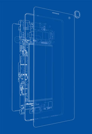 Disassembled smartphone concept outline. Vector