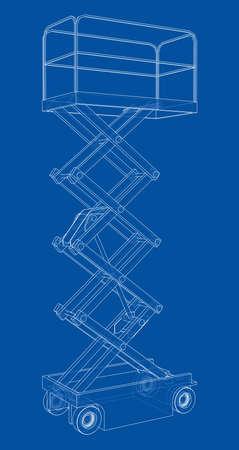 Scissor lift concept outline. Vector