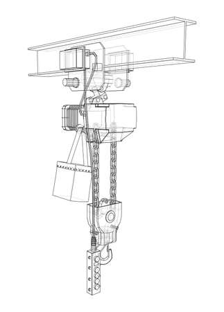 Winch or lifting machine concept outline. Vector rendering of 3d. Wire-frame style. The layers of visible and invisible lines are separated