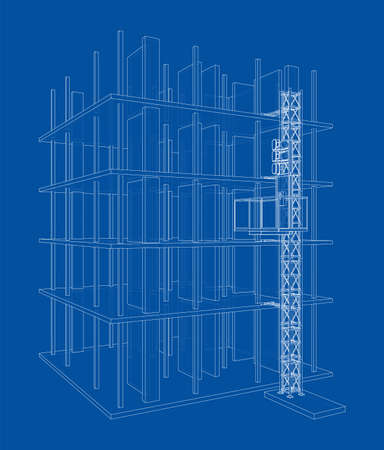 Building under construction with mast lifts Vettoriali