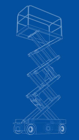 Scissor lift concept outline. Vector
