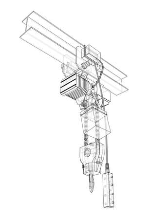Winch or lifting machine concept outline. Vector