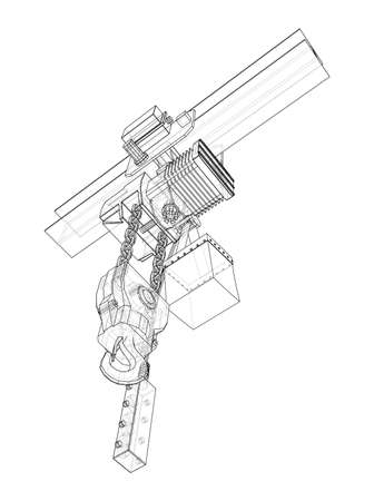 Winch or lifting machine concept outline. Vector Vecteurs