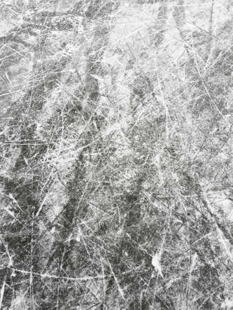 Photo of ice with scratches from the skates. Winter, Siberia