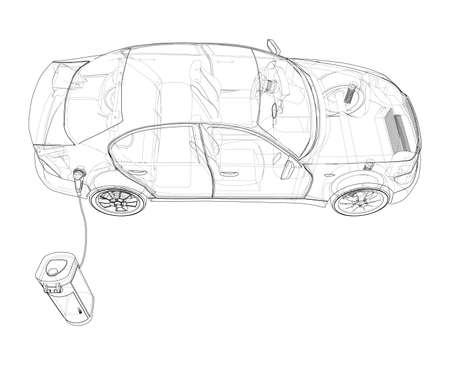 Electric Vehicle Charging Station Sketch. Vector
