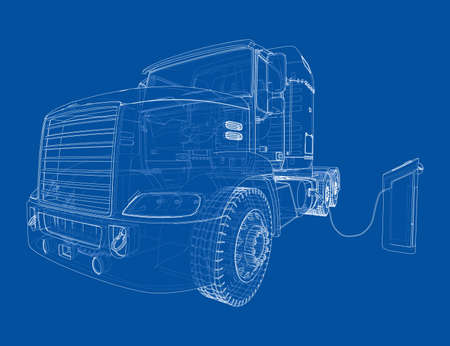 Electric Truck Charging Station Sketch. Vector
