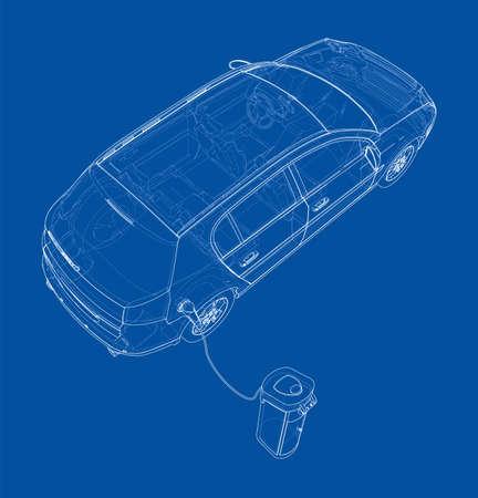 Electric Vehicle Charging Station Sketch. Vector Vektoros illusztráció