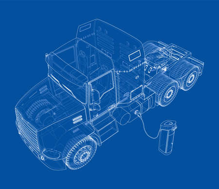 Electric Truck Charging Station Sketch. Vector rendering of 3d. Wire-frame style. The layers of visible and invisible lines are separated Illustration