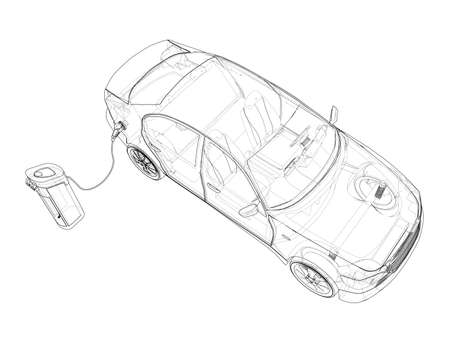 Electric Vehicle Charging Station Sketch. Vector rendering of 3d. Wire-frame style. The layers of visible and invisible lines are separated Vectores