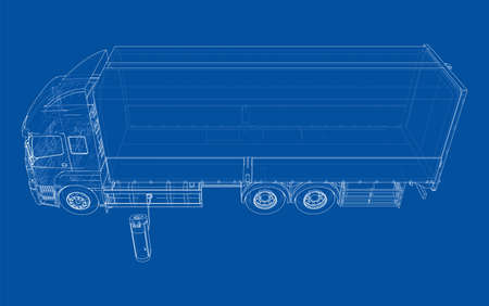 Electric Truck Charging Station Sketch. Vector rendering of 3d. Wire-frame style. The layers of visible and invisible lines are separated Vectores