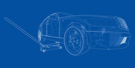 Concept car with Floor Car Jack. Vector Vectores