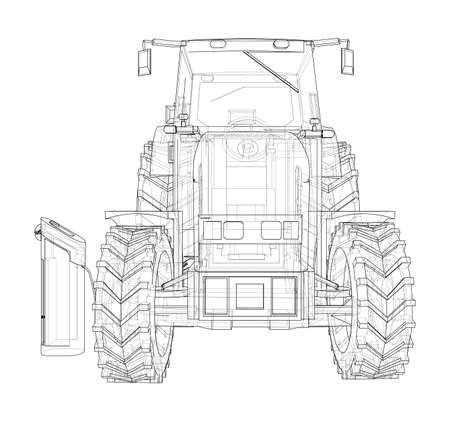Electric Farm Tractor Charging Station Sketch