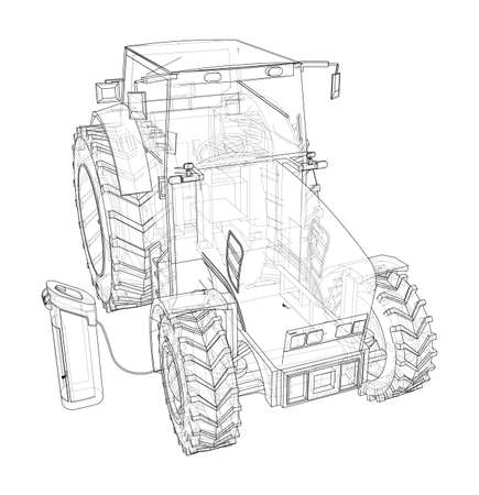 Electric Farm Tractor Charging Station Sketch. Vector rendering of 3d. Wire-frame style. The layers of visible and invisible lines are separated
