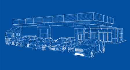 Electric Car Charging Station with Cars and Truck