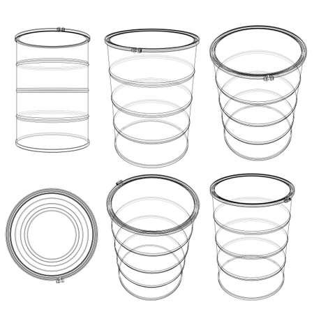 Set of oil barrels. 3D illustration