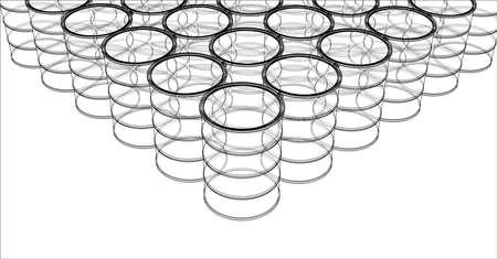 Group of oil barrels. 3D illustration