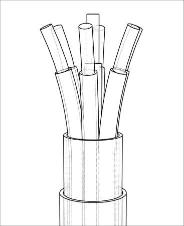 Seven-wire cable. Wire frame. 3D illustration