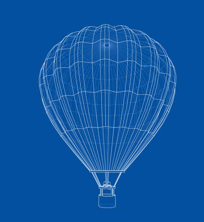 Outline or sketch hot air balloon. 3D illustration Banque d'images