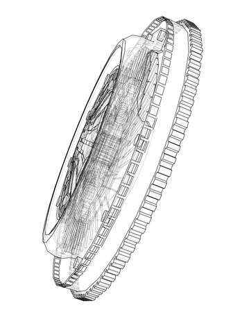 Sketch of clutch basket for the car. 3D illustration. Wire-frame style Standard-Bild