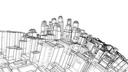 Wire-frame Twisted City, Blueprint Style. 3D illustration. Architecture Design Background