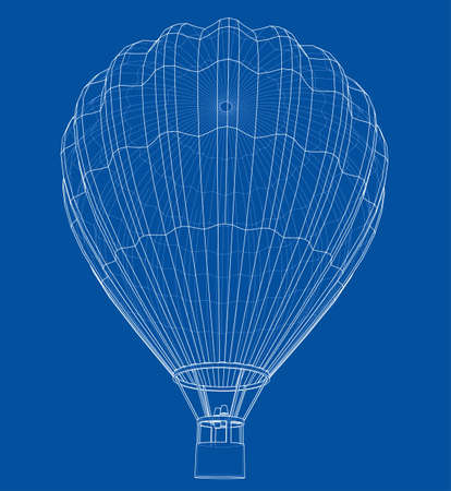 Outline or sketch hot air balloon. 3D illustration Standard-Bild