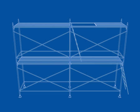 3D outline scaffold. 3D illustration. Wire-frame style
